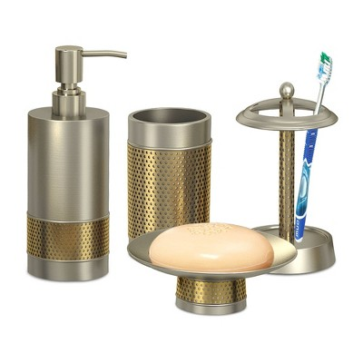 4pc Selma Brushed Metal Bath Accessory Set for Vanity Counter Tops - Nu Steel