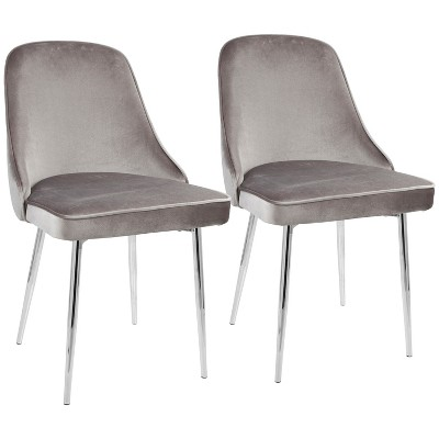 Beau Set Of 2 Dining Chair Silver Chrome   LumiSource