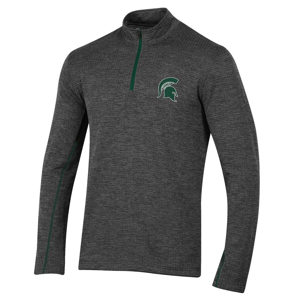 Michigan State Spartans Men's Long Sleeve Digital Textured 1/4 Zip Fleece - Gray Xxl