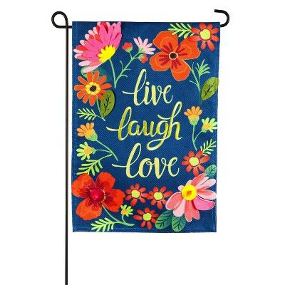 Evergreen Flag Live Laugh Love Floral Garden Burlap Flag