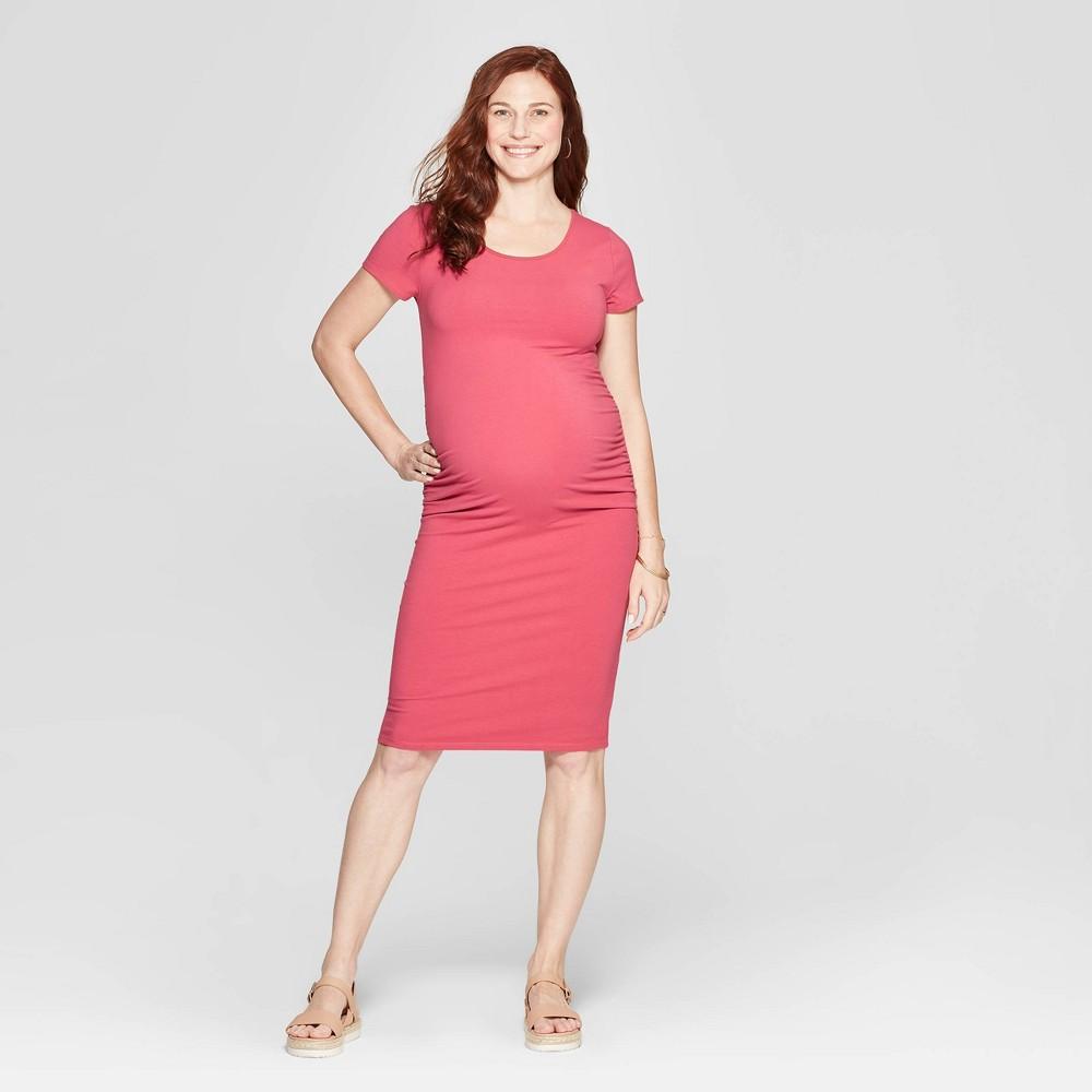 Maternity Short Sleeve Shirred T-Shirt Dress - Isabel Maternity by Ingrid & Isabel Pink XS, Women's, Deep Sea Rose