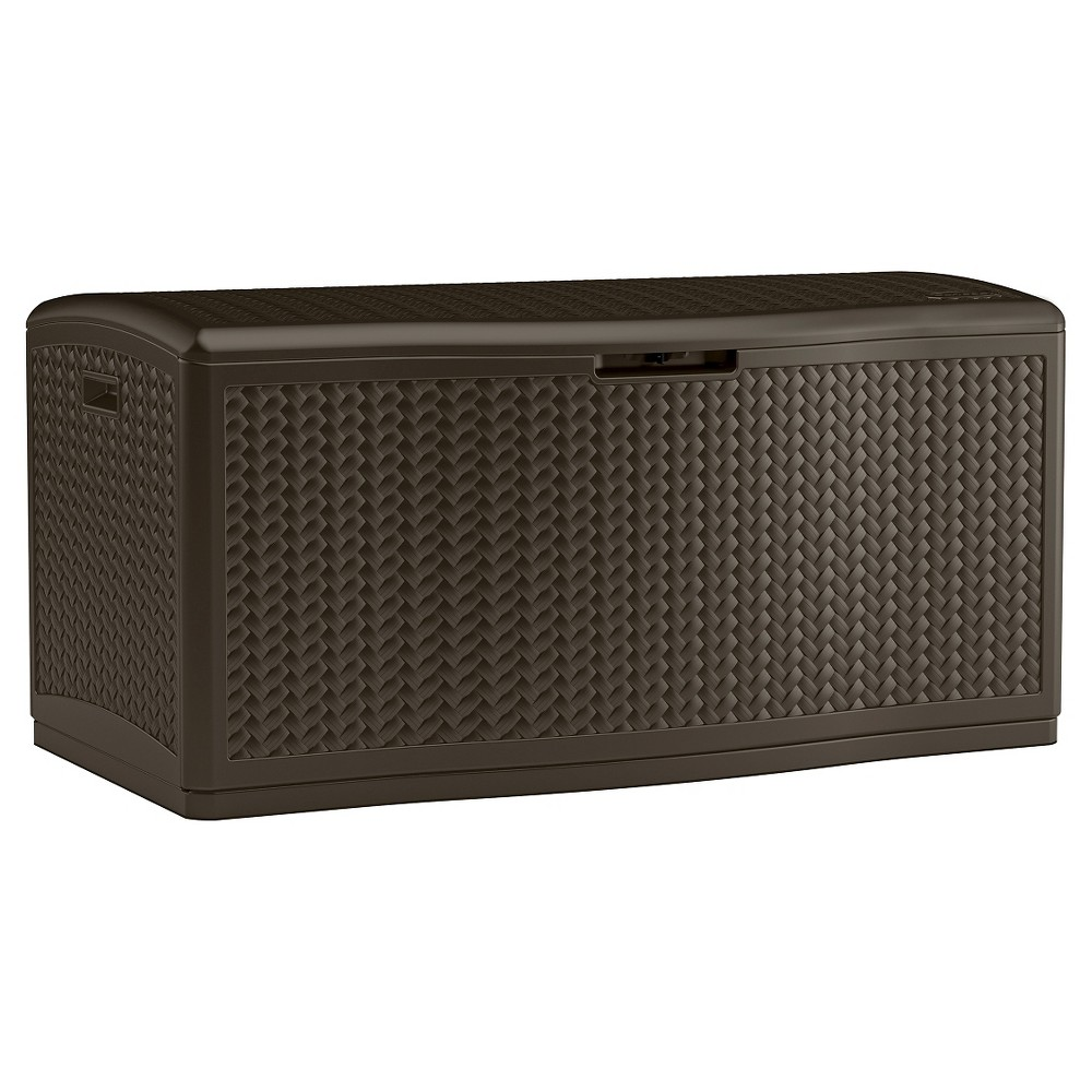 Image of 124gal Resin Wicker Deck Box Brown - Suncast