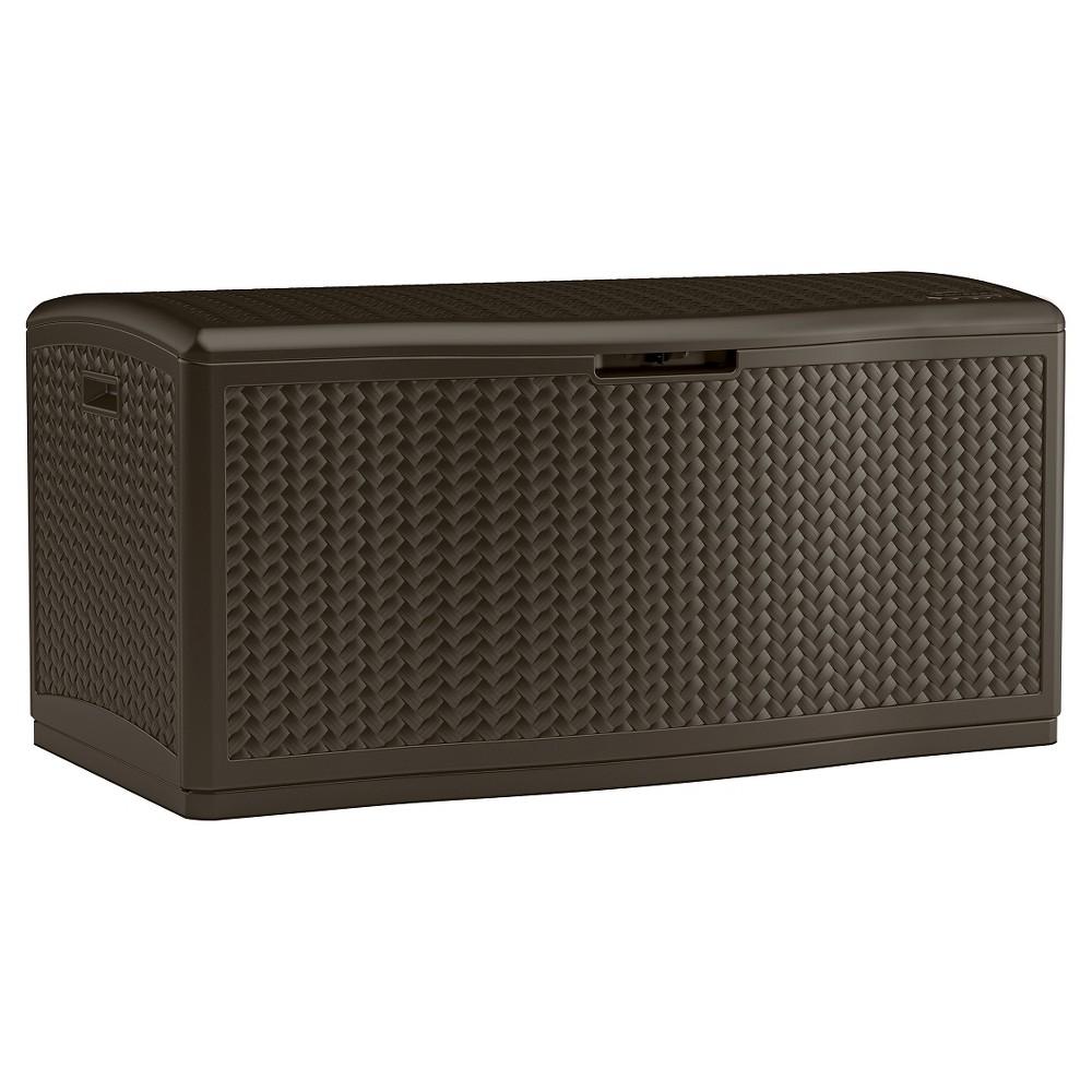 Deck Box Resin Wicker 124 Gallon - Brown - Suncast