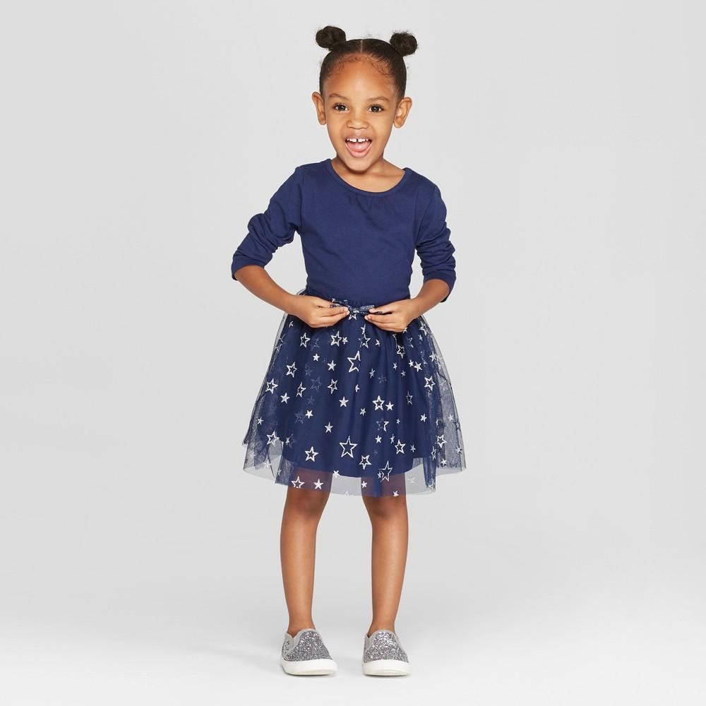 Toddler Girls' Long Sleeve Tutu Dress with Star Mesh Skirt - Cat & Jack Navy 5T, Blue