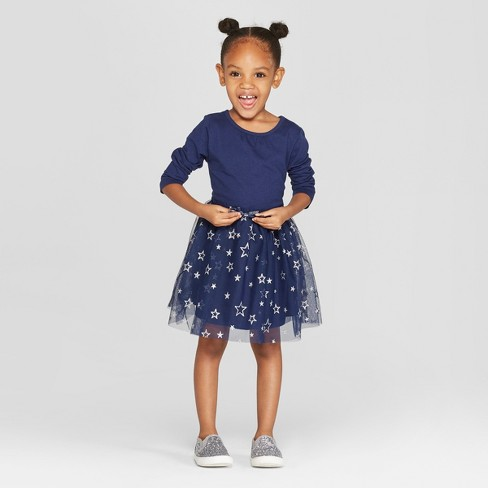 Toddler Girls' Long Sleeve Tutu Dress with Star Mesh Skirt - Cat & Jack™ Navy - image 1 of 3