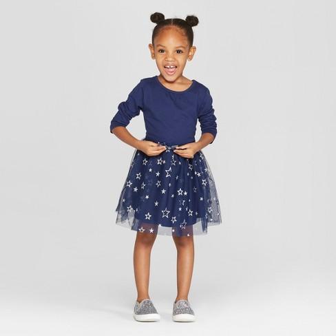 0fb812638 Toddler Girls' Long Sleeve Tutu Dress With Star Mesh Skirt - Cat & Jack™  Navy : Target