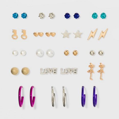 Love, Star, Heart Post Back Stud with Hoop Earring Set 18ct - Wild Fable™ - image 1 of 2