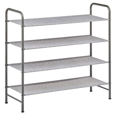 mDesign Metal and Polyester 4 Tier Shoe Storage Organizer Rack - Graphite/Gray