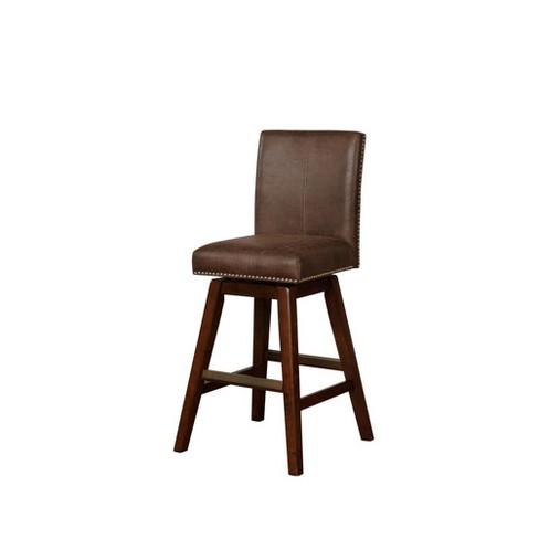 Cedar Wood Swivel Bar Stool Brown Linon