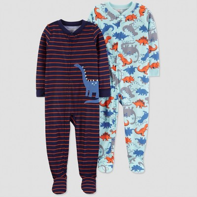 Baby Boys' Stripe Dino Pajama Set - Just One You® made by carter's Blue 9M