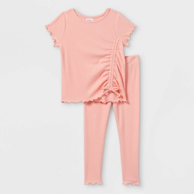 Toddler Girls' 2pc Ruched Rib Short Sleeve T-Shirt & Leggings Set - art class™