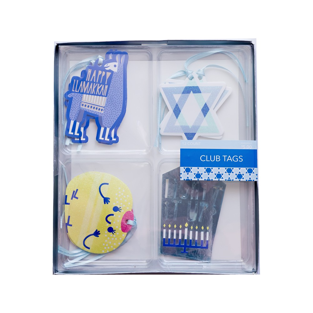 12ct Hanukkah Premium Gift Tags, Blue
