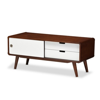 Armani Mid - Century Modern Two - Tone Finish 2 - Drawer with Sliding Door Wood TV Cabinet - White, Brown - Baxton Studio