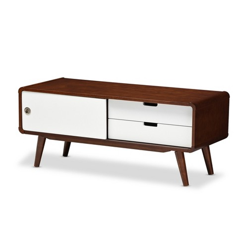 919ce6d3071 Armani Mid - Century Modern Two - Tone Finish 2 - Drawer With Sliding Door  Wood TV Cabinet - White