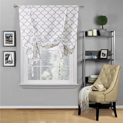 Kate Aurora Living Shabby Chic Trellis Quatrefoil Tie Up Window Curtain Shade