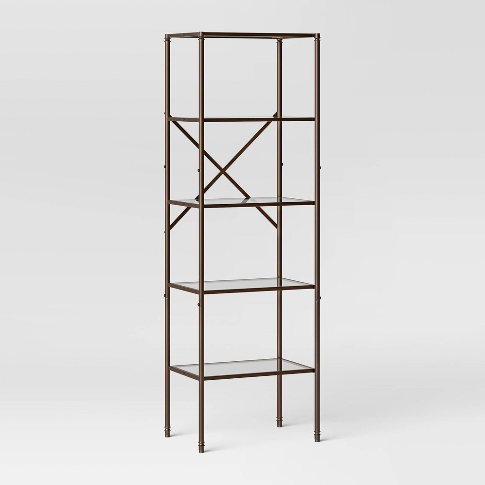 Metal/Glass Linen Tower Oil Rubbed Bronze - Threshold Top