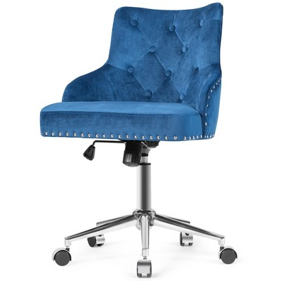 Costway Blue Velvet Office Chair Tufted Upholstered Swivel Computer Desk Chair Nailed Trim