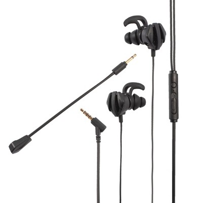 Insten 3.5mm Gaming Earbuds with Mic, In-Ear Headset Detachable Dual Microphone For PS5 PS4 Nintendo Switch PC Cell Phone PUBG - Black