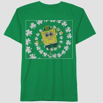 Men's SpongeBob SquarePants Spiral Clover Short Sleeve Graphic Crewneck T-Shirt - Green