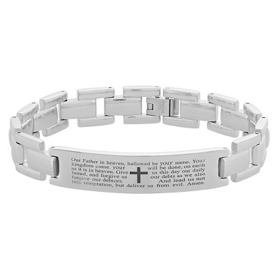 "Men's Stainless Steel Lord's Prayer ID Link Bracelet (12.5mm) - Silver (8.5"")"