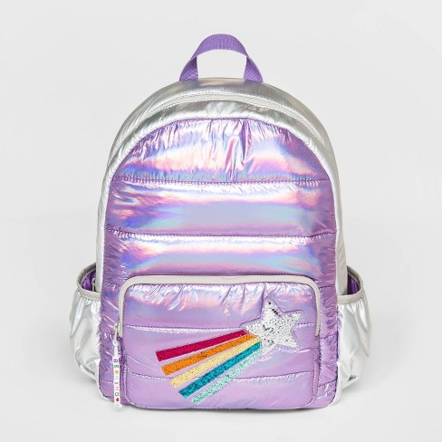 Girls' Puffy Metallic Backpack with Shooting Star - Cat & Jack™ Purple - image 1 of 2