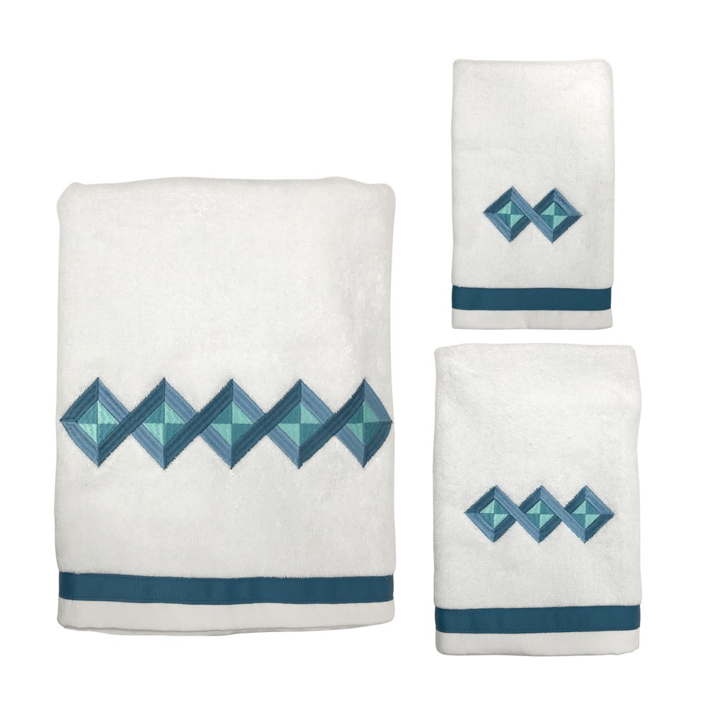 Image of 3pc Grid Overlap Towel Set White - Allure Home Creation