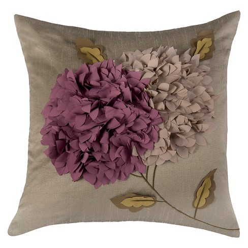 Gray/Purple Applique 3D Floral Bloom Throw Pillow - Rizzy Home - image 1 of 1
