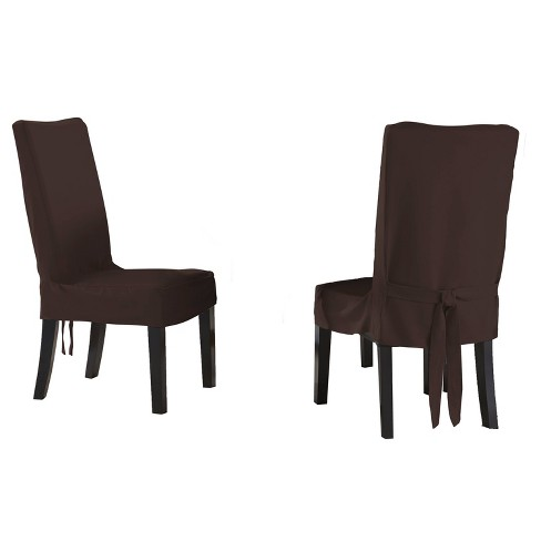 6pk Relaxed Fit Smooth Suede Furniture Dining Chair short Slipcover - Serta - image 1 of 2