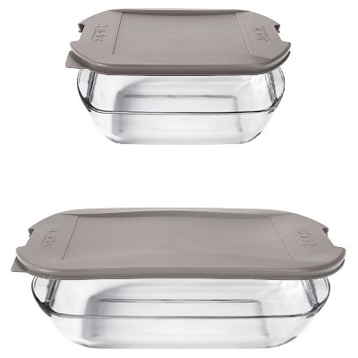 Anchor Embrace Glass Bake Set with Lids- Clear/Gray