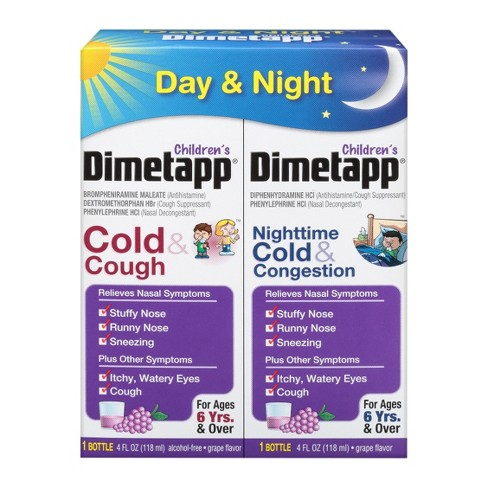 Children's Dimetapp Day/Night Cold, Cough & Congestion Relief Liquid - Dextromethorphan - Grape Flavor - 4 fl oz/2pk - image 1 of 4
