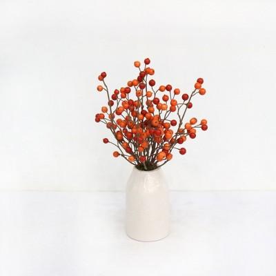 Artificial Orange Berry Arrangement in White Pot Small - Threshold™
