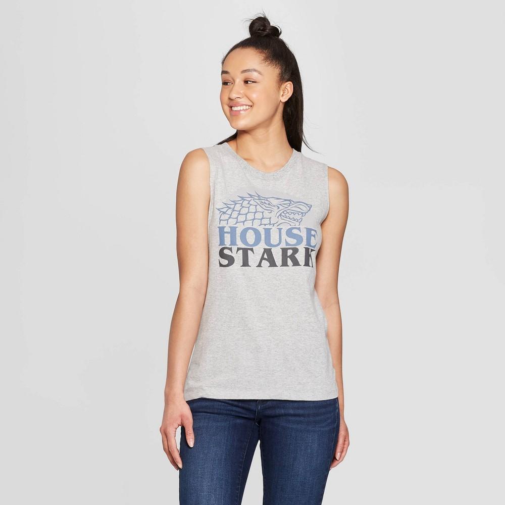 Women's Game of Thrones House Stark Muscle Crewneck Tank Top (Juniors') - Gray XL