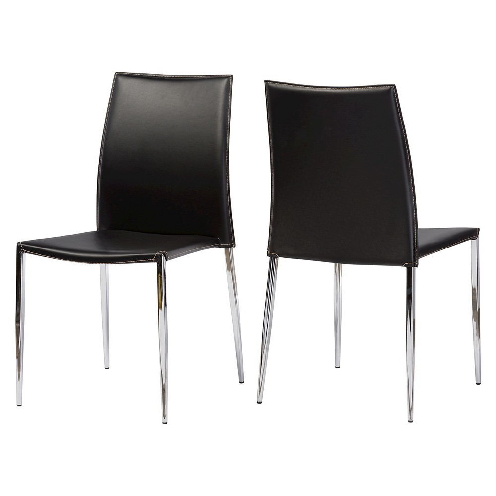 Benton Leather Dining Chair - Black (Set Of 2) - Baxton Studio