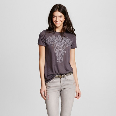 Women's Tribal Elephant Graphic T-Shirt Charcoal Gray - L.O.L. Vintage - image 1 of 2