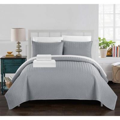 Chic Home Larsson Geometric Chevron Decorative Pillows & Shams 7 Piece - Silver
