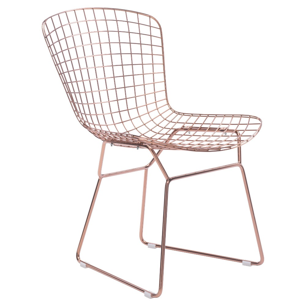 Mid-Century Modern Welded Steel Dining Chair (Set of 2) - Rose Gold - ZM Home