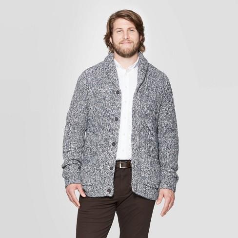 Men's Big & Tall Chunky Cardigan Sweater - Goodfellow & Co™ Gray - image 1 of 3