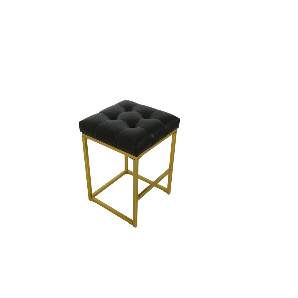 "Image of ""24"""" Hayden Open Back Metal Counter Stool Tufted Faux Leather Black - HomePop"""