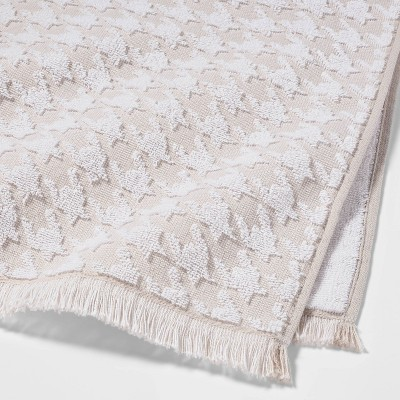 Houndstooth Fringe Terry Hand Towel Beige - Threshold™