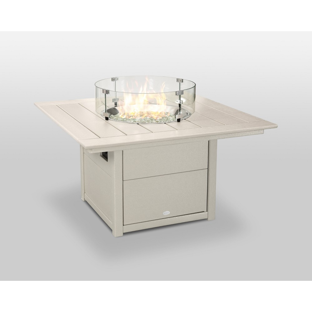 "Image of ""POLYWOOD 42"""" Fire Pit Table - Square - Tan"""