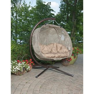 Textilene Hanging Pumpkin Chair - Brown - Flowerhouse
