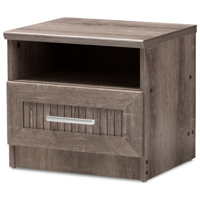 Gallia Modern and Contemporary Oak Finished 1 Drawer Nightstand Brown - Baxton Studio