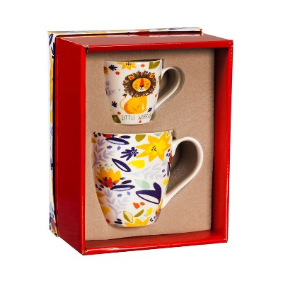 """Cypress Home Ceramic Cup Set, Little Warrior """"Mommy And Me"""""""
