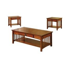 Berta Mission Style Accent Table Set Antique Oak - Sun & Pine