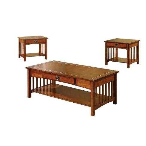 Sun Pine 3pc Berta Mission Style Accent Table Set Antique Oak