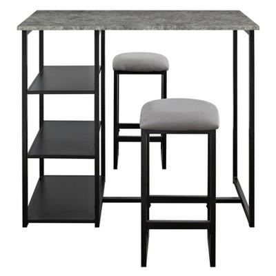 Visby 3 Piece Pub Set with Faux Concrete Top Gray / Black - Dorel Living