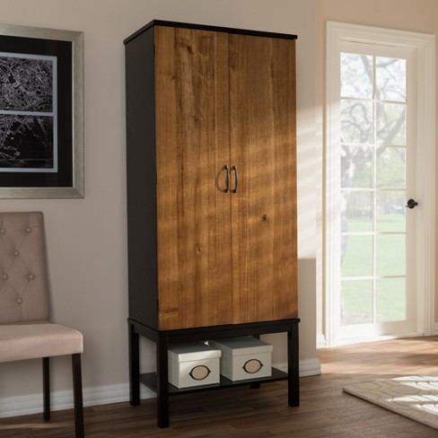 Marya Mid Century Modern Walnut Two Tone Solid Rubberwood Mdf Veneered Wine Cabinet Dark Brown - Baxton Studio - image 1 of 7