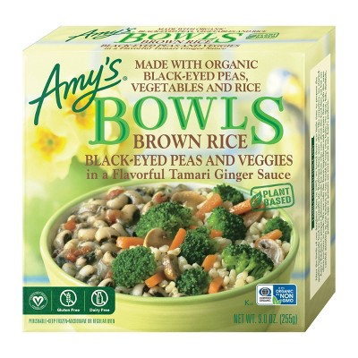 Amy's Gluten Free and Vegan Frozen Brown Rice Black-Eyed Peas and Veggies Bowls - 9oz