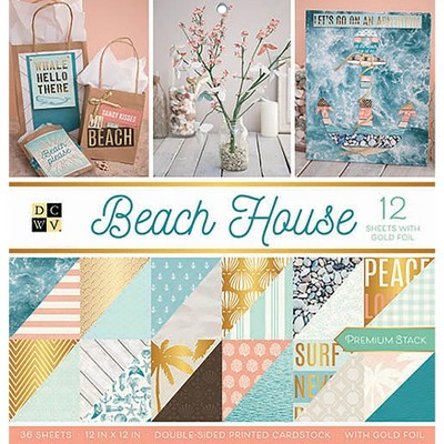 """DCWV Double-Sided Cardstock Stack 12""""X12"""" 36/Pkg-Beach House, 18 Designs/2 Each"""