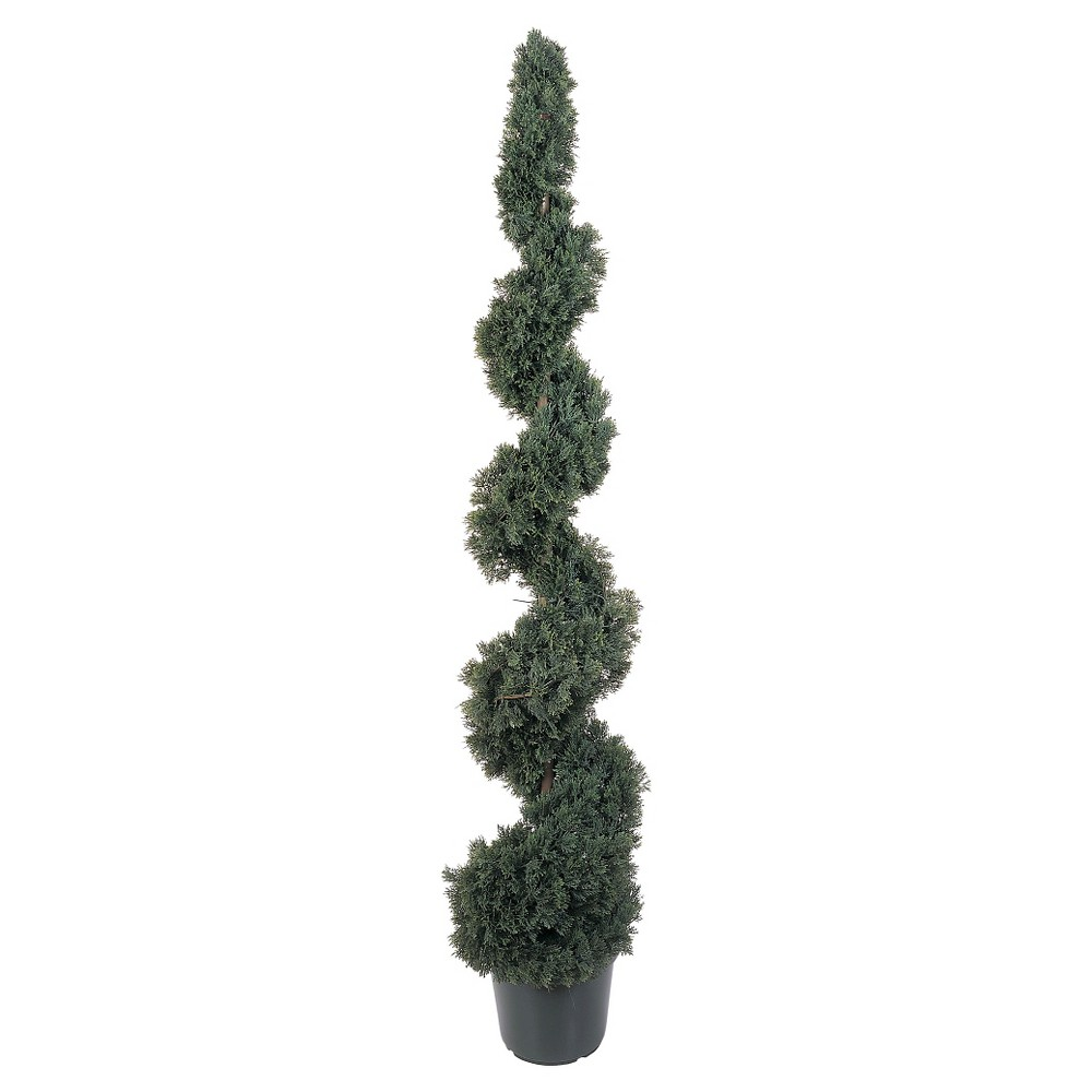 Nearly Natural 5' Cedar Spiral Silk Tree (In-door/Out-door), Green Add a whimsical touch to your favorite room with the Nearly Natural 5' Cedar Spiral Silk Tree. Like a spiral staircase to the heavens, this magnificent reproduction of a Cedar tree twist and turns upward from its planter. Made of polyester and plastic, this arrangement looks so real that your friends and neighbors will think you have the greenest of thumbs (and the sharpest of shears). Ideal for the family room, living room, porch, den, or any office and makes a perfect gift, too.